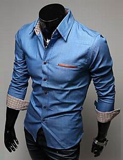 billige Herremote og klær-Bomull Tynn Klassisk krage Skjorte - Ensfarget Herre