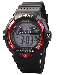 billige Børneure-Quartz Digital Digital Watch Armbåndsur Sportsur Vandafvisende LED Selvlysende Silikone Bånd Afslappet Sej Sport Sort Rød Grøn