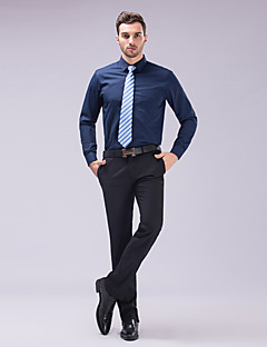 cheap Shirts-Classic / Semi-Spread Neck Long Sleeve Cotton Solid Black/Pink/White/Blue Shirt for Suits