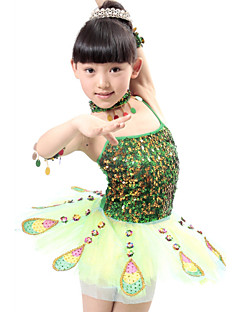 Shall We Ballet Performance Dresses Children Polyester/Tulle Peacock Sequins Dress Red/Green Kids Dance Costumes