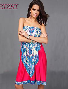 Χαμηλού Κόστους -0.9-Γυναικεία Μπόχο Φαρδιά Φόρεμα - Patchwork, Στάμπα Πάνω από το Γόνατο