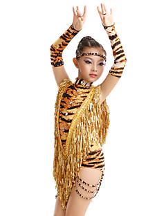 Dança Latina Vestidos Mulheres Crianças Actuação Treino Fibra de Leite Estampa Animal 4 Peças Vestido Luvas Fita de Cabelo