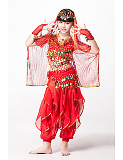 Belly Dance Outfits Children's Performance Chiffon/Sequined Beading/Coins/Sequins 5 Pieces Fuchsia/Gold/Red/turquoise Kids Dance Costumes