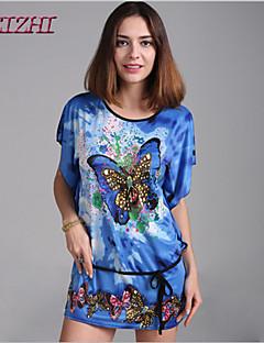 Ovenfor knéet Kortermet Dress Annet/Spandex/Polyester/Elastisk/Akryl/Mikrofiber/Rayon Kvinner