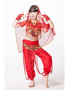 hesapli -Kıyafetler Çocuklar için Performans Şifon Süs Pullu Boncuklama Madeni Para 6 Parça Kolsuz DoğalTop Pantalonlar Bel Kemeri Bileklikler