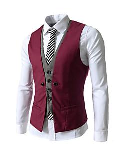 お買い得  メンズブレザー&スーツ-男性用 タンクトップ スリム パッチワーク コットン ブラック&ホワイト