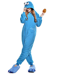 billige Kigurumi-Voksne Kigurumi-pysjamas Cookie Anime Onesie-pysjamas Polar Fleece Blå Cosplay Til Damer og Herrer Pysjamas med dyremotiv Tegnefilm Festival / høytid kostymer