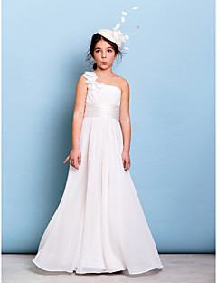 cheap Junior Bridesmaid Dresses-A-Line One Shoulder Floor Length Chiffon Junior Bridesmaid Dress with Flower(s) Sash / Ribbon Criss Cross Ruching by LAN TING BRIDE®