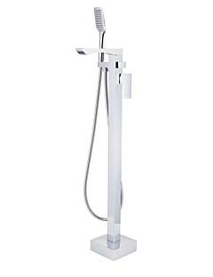 tanie Wodospad-Bateria Wannowa - Wodospad Zawiera prysznic ręczny Podłogowy Chrom Podłogowy Pojedynczy uchwyt jeden otwór