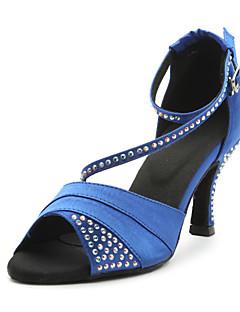 hesapli -Kadın's Latin Dans Ayakkabıları / Balo Saten Sandaletler Kristal Kişiye Özel Kişiselleştirilmiş Dans Ayakkabıları Mavi / Mor / Deri