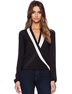 Femei V Adânc Bluză Elegant Simplu(ă),Mată Manșon Lung Vară-Alb / Negru Translucență Poliester