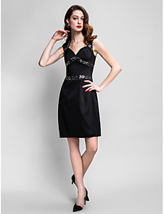 Sheath   Column Queen Anne Knee Length Stretch Satin Little Black Dress  Cocktail Party Dress with ce998eb9f