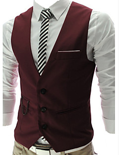 billige Herremote og klær-Tynn سترة-Ensfarget Business Casual Fest Herre / Arbeid
