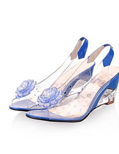 hesapli -Kadın's Ayakkabı Yapay Deri Bahar / Yaz Saydam Topuk / Dolgu Topuk Elbise / Dış mekan için İnci Sarı / Kırmzı / Mavi