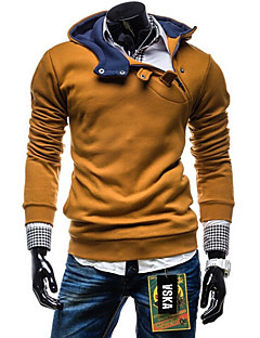 Men's Plus Size Sports Casual/Daily Simple Hoodie Color Block Cotton Polyester Long Sleeve Fall Winter