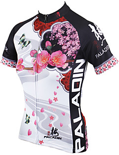 cheap Cycling Jerseys-ILPALADINO Women's Short Sleeves Cycling Jersey - White Floral / Botanical Bike Jersey, Quick Dry, Ultraviolet Resistant, Breathable
