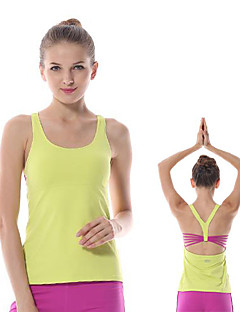 billiga Träning-, jogging- och yogakläder-Yokaland Dam Brottarrygg / Öppen Rygg Yoga Top - Vit, Orange, Grön sporter Elastan Väst / Linne / Överdelar Pilates, Motion & Fitness