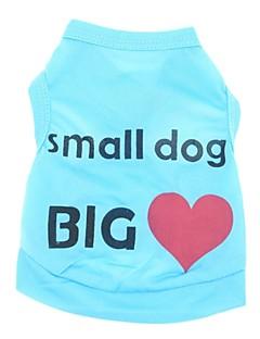 billiga Hundkläder-Katt Hund T-shirt Hundkläder Hjärta Bokstav & Nummer Blå Rosa Terylen Kostym För husdjur Herr Dam Ledigt/vardag Semester