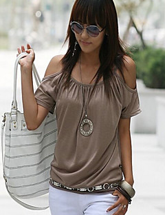 Daily Casual Street chic Summer T-shirt,Solid Round Neck Short Sleeves Polyester Thin