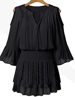 billige Minikjoler-Dame Plusstørrelser Stort Ærme Løstsiddende Kjole - Ensfarvet Patchwork, Udhulet Over knæet V-hals