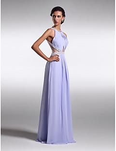 시스 / 칼럼 바닥 길이 쉬폰 프롬 포멀 이브닝 드레스 와 비즈 옆면 드레이핑 으로 TS Couture®