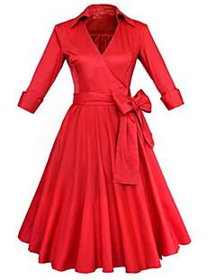 Dámské Vintage Party/Koktejl A Line Šaty Jednobarevné,Tříčtvrteční rukáv Do V Délka ke kolenům Červená Černá Bavlna Polyester Jaro Léto