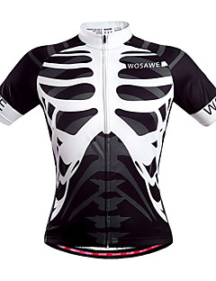 cheap Cycling Jerseys-WOSAWE Men's Short Sleeves Cycling Jersey - Black/White Skull Bike Jersey, Quick Dry, Breathable, Sweat-wicking