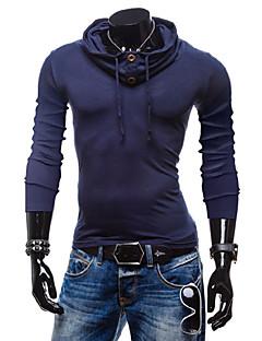baratos Abrigos e Moletons Masculinos-Masculino Camiseta CasualSólido Algodão Manga Longa