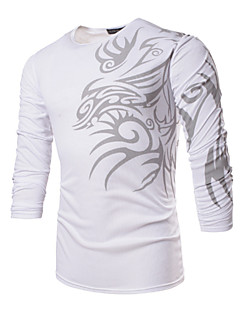 Men's Daily Sports Formal Plus Size Work Boho T-shirt,Print Long Sleeves Polyester Spandex
