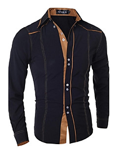 Men's Casual/Daily Simple Spring Fall Shirt,Solid Classic Collar Long Sleeves Cotton