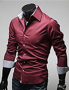 お買い得  メンズファッション&ウェア-男性用 プラスサイズ シャツ レギュラーカラー スリム ソリッド コットン