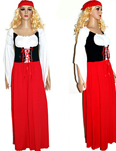 billige Halloweenkostymer-Oktoberfest bayerske Cosplay Kostumer Party-kostyme Dame Jul Halloween Karneval Festival / høytid Drakter Rød Lapper