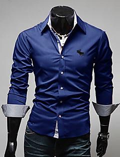 billige Plus Størrelser-Herre-Tynd Herre - Ensfarvet Bomuld Plusstørrelser Skjorte