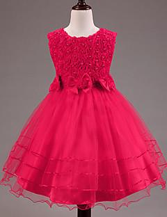tanie Odzież dla dziewczynek-Sukienka Dziewczyny Jendolity kolor Lato Bez rękawów Elegancka odzież Kokarda Koronka White Purple Fuchsia Czerwony Różowy
