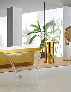 アンティーク バスタブとシャワー 滝状吐水タイプ ハンドシャワーは含まれている セラミックバルブ 三つ シングルハンドル三穴 Ti-PVD , 浴槽用水栓