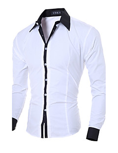Men's casual long-sleeved shirt Slim spell color shirt Cotton / Polyester Casual / Work Pure