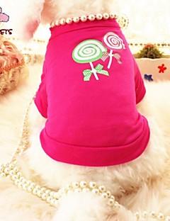 billiga Hundkläder-Katt Hund T-shirt Hundkläder Pärla Ros Cotton Kostym För husdjur Cosplay Bröllop