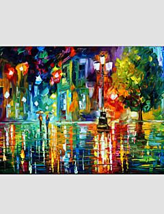 tanie Pejzaże abstrakcyjne-Hang-Malowane obraz olejny Ręcznie malowane - Krajobraz Nowoczesny / Fason europejski Brezentowy / Rozciągnięte płótno