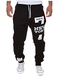 cheap Men's New Ins-Men's Active / Basic Cotton Loose Sweatpants Pants - Letter Black / Red / Sports / Drawstring / Weekend