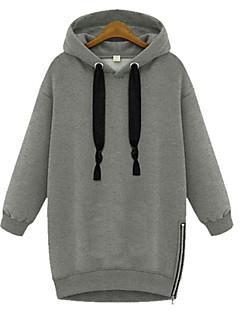 レディース プラスサイズ シンプル カジュアル/普段着 パーカー ソリッド 伸縮性なし 長袖 冬