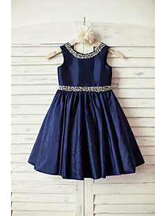 A-Line Knee Length Flower Girl Dress - Taffeta Sleeveless Scoop Neck with Beading by thstylee