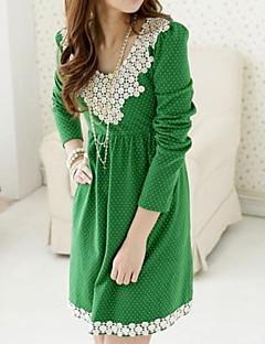אביב פוליאסטר שחור / ירוק שרוול ארוך מעל הברך צווארון עגול מנוקד שמלה אמהות קשיח בינוני (מדיום)