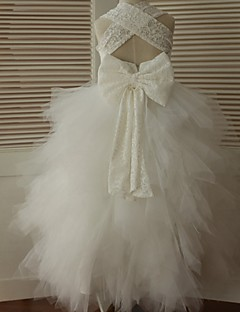 Ball Gown Ankle Length Flower Girl Dress - Lace Tulle Sleeveless Straps with Bow(s) by LAN TING BRIDE®