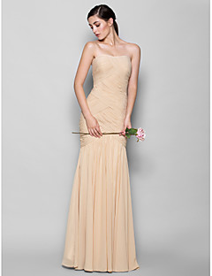 cheap Bandage Dresses-Fit & Flare Sweetheart Floor Length Chiffon Bridesmaid Dress with Criss Cross by LAN TING BRIDE®