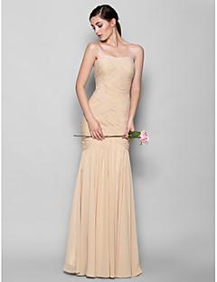 tanie Sukienki bandażowe-Obcisła i rozszerzona Dekolt serduszko Sięgająca podłoża Szyfon Sukienka dla druhny z Krzyżowe przez LAN TING BRIDE®