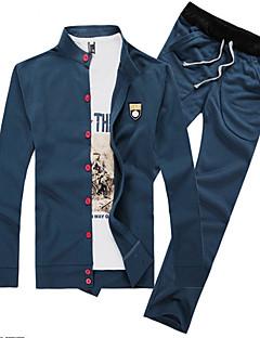 baratos Abrigos e Moletons Masculinos-Masculino Sets activewear Casual Cor Solida Algodão Manga Comprida Masculino