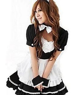 billige Tjenestepike- Drakter-uniformer Cosplay Kostumer Dame Halloween Karneval Nytt År Festival / høytid Halloween-kostymer Drakter Svart Lapper Stuepike Uniform