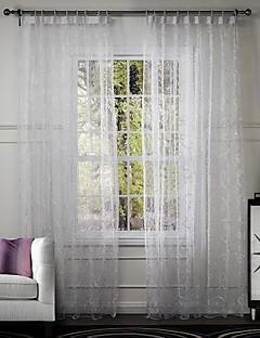 baratos Cortinas Transparentes-Cortinas cortinas Sala de Estar Poli / Mistura de Algodão Bordado