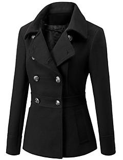 女性 冬 ソリッド コート シャツカラー レッド / ブラック / ブラウン ウール / その他 長袖 厚手