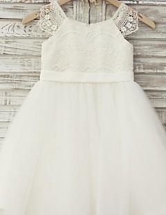 Vestido de menina de flor de joelho com uma linha de joias - laço de tul com mangas curtas colher de colher com fita por thstylee
